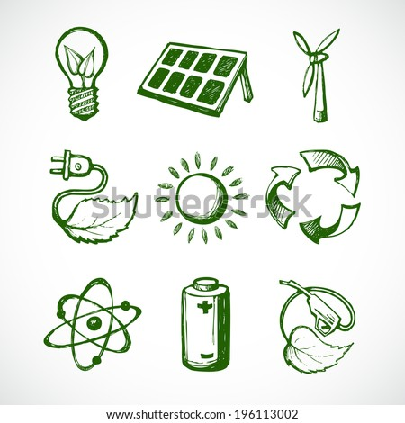 Eco green energy sketch icons set of leaf lightbulb sun panel and atom isolated vector illustration - stock vector