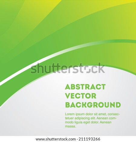 Eco green gradient vector background curves on grey. Editable eps 10 illustration. - stock vector