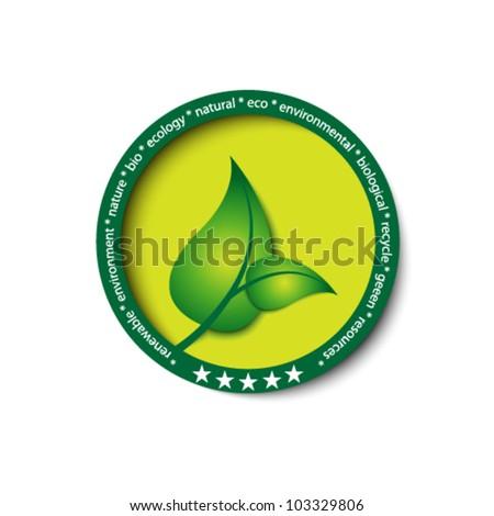 eco green icon / button - stock vector