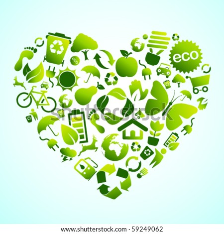 Eco green icon heart - stock vector