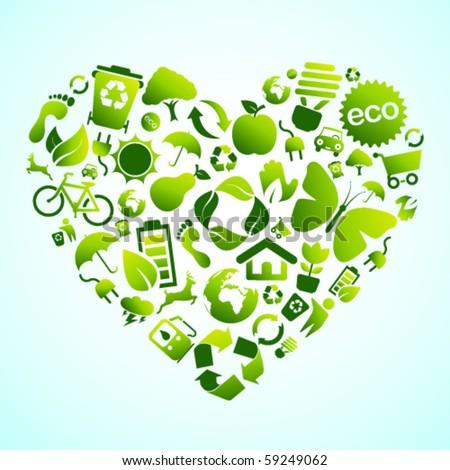 Eco green icon heart - stock vector