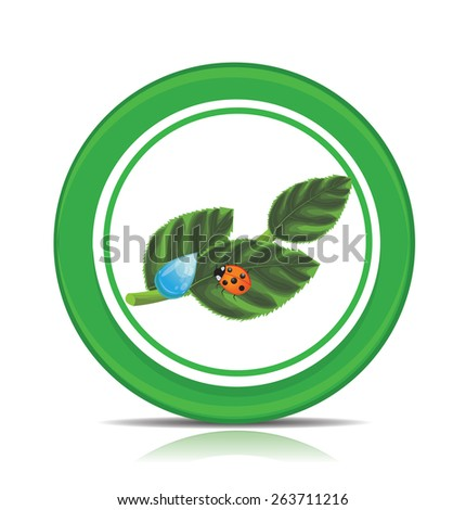 Eco green leaf icon - stock vector