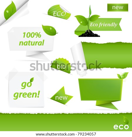 Eco Green Set, Isolated On White Background, Vector Illustration - stock vector