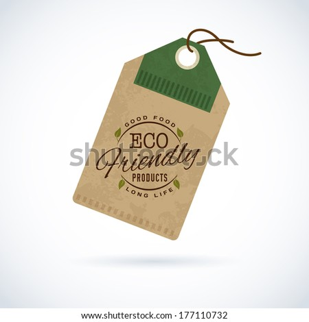 ECO green stamp label of healthy organic natural fresh farm food  - stock vector