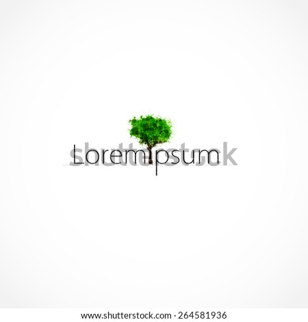 Eco Green Tree logo template, easy editable - stock vector