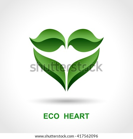 Eco heart logo, Phytotherapy emblem, Vector Eps10 - stock vector