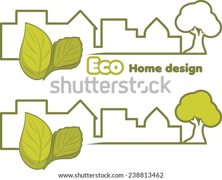 Eco home design. Two icons for design. Vector - stock vector