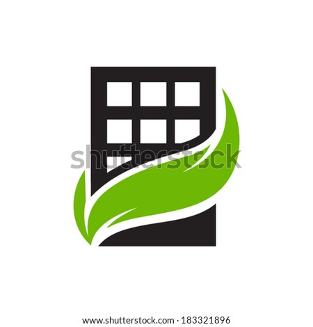 Eco home sign Branding Identity Corporate vector logo design template Isolated on a white background - stock vector