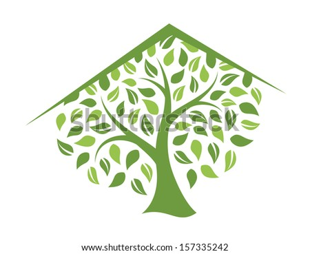 Eco house. Abstract illustration. - stock vector