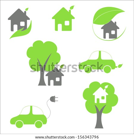 Eco house and car icons set - stock vector