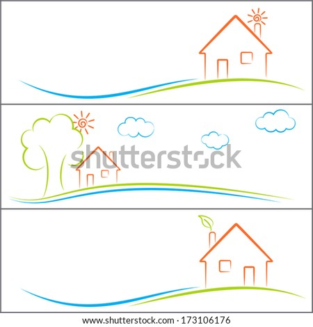 Eco house banners set - stock vector