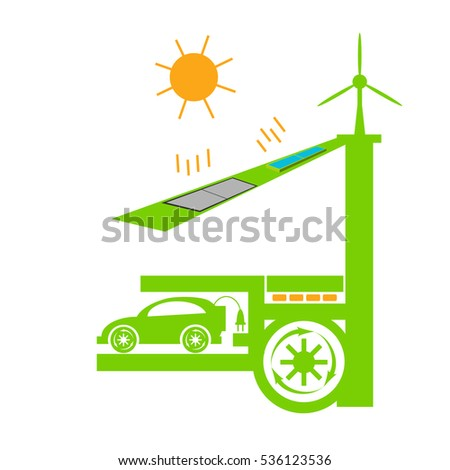 Eco house ellements. Eco electric car charge at home concept. Solar panel, wind turbine, eco energy. Vector illustration