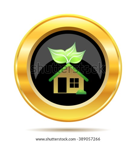 Eco house icon. Internet button on white background. EPS10 vector.