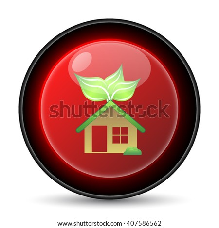 Eco house icon. Internet button on white background. EPS10 vector