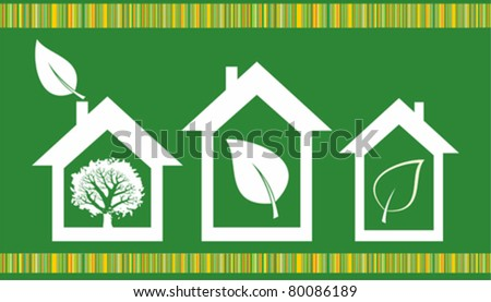 eco house icon isolated on green background. Vector illustration