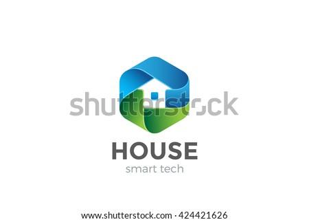 Eco House Logo abstract design vector template in Hexagon shape. Home services Household Ecology green smart Logotype concept icon. - stock vector
