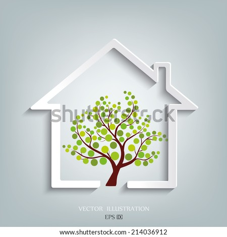 Eco House Vector - stock vector