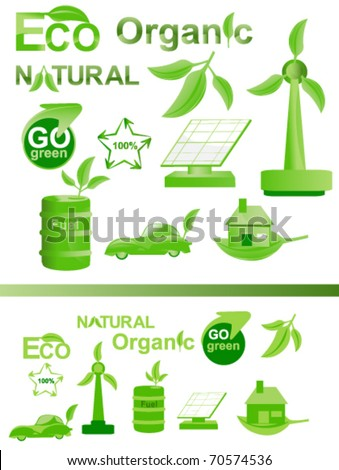 eco icon and logo set collection in glossy and simple style - stock vector