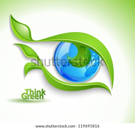 Eco icon - eye with lashes-leaves - stock vector