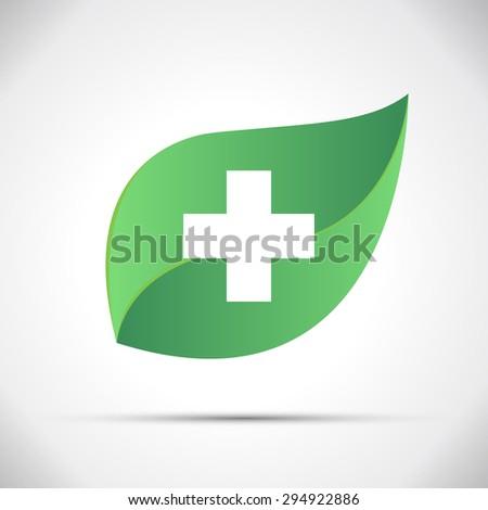 Eco Icon Green Leaf Vector Illustration - stock vector