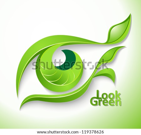 """Eco icon """"Look green"""" - eye with lashes-leaves - stock vector"""