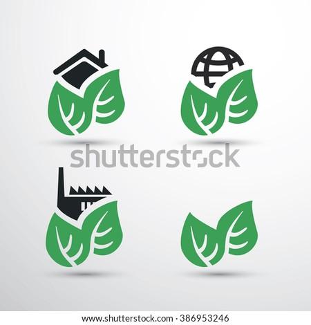 Eco Icon Set - House, Factory, Earth - stock vector
