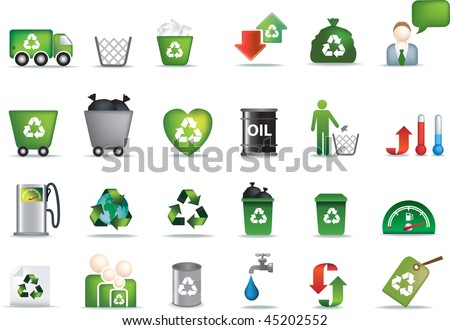 Eco icon set illustrated as green buttons - stock vector