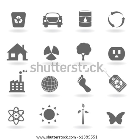 Eco icon set in grayscale - stock vector