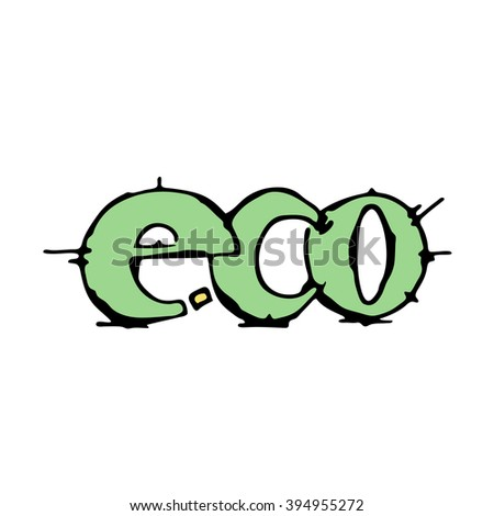 Eco icon sign on white background. Stock hand drawn vector illustration. - stock vector