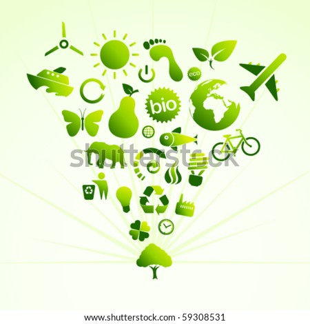 Eco icon tree - stock vector