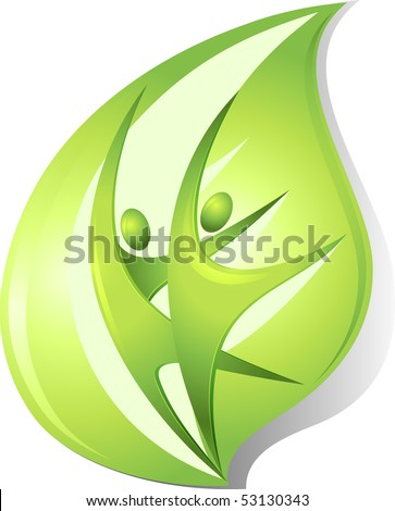 Eco-icon with green dancers - stock vector