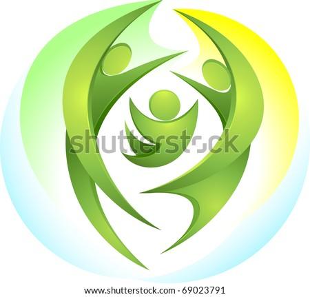 Eco-icon with happy green family - stock vector