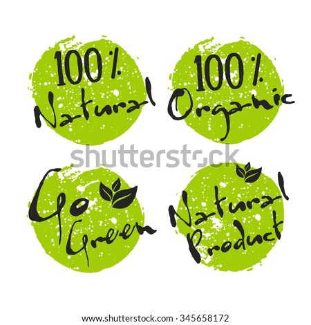 Eco icon with leaf, vector bio sign on watercolor stain with watercolor spots. Vector banner 100% natural organic concept with leaves. Poster with natural organic food concept. - stock vector