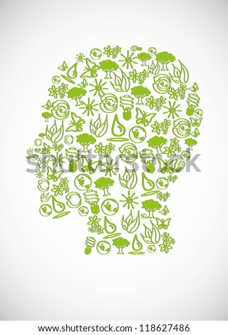 Eco icons and symbols  form the human head