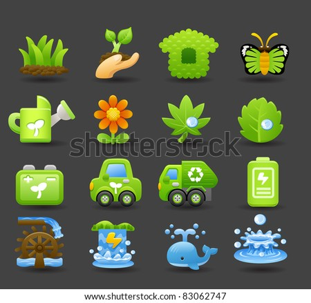 Eco icons | Dark series - stock vector