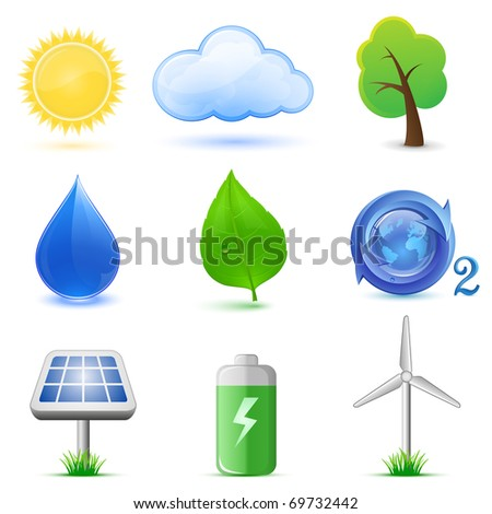 Eco icons. Highly detailed vector icons. Ecological and environmental icons. - stock vector