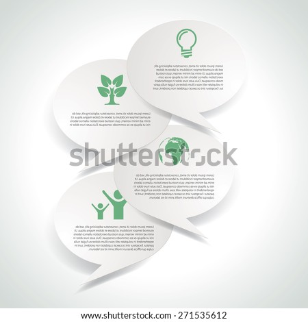 Eco icons in clouds vector background. - stock vector