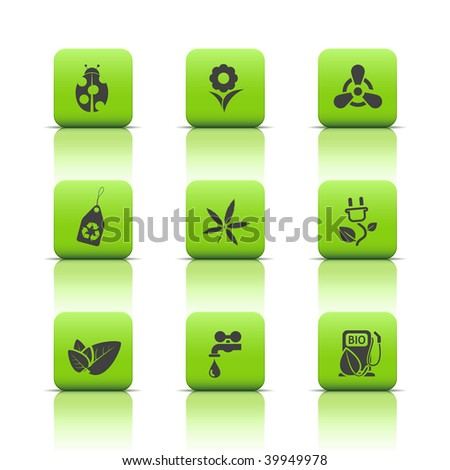 Eco icons in green buttons - stock vector