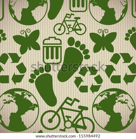 eco icons  over lineal background vector illustration  - stock vector