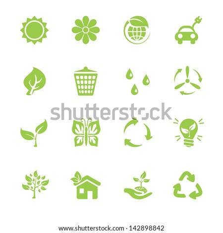 Eco icons set - stock vector