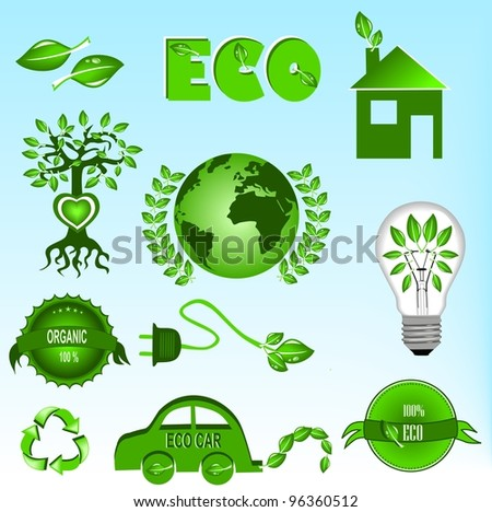 Eco icons set - stock vector