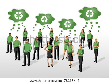 Eco illustration of a group of people in green clothes and recycling icon - stock vector