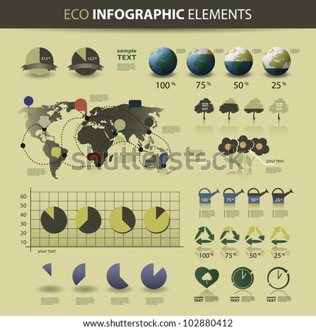 Eco Infographic Elements. World Map and Information Graphics