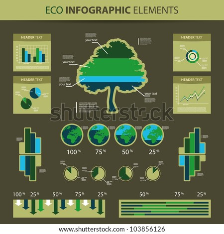 Eco Infographic Elements - World Map and Information Graphics - stock vector