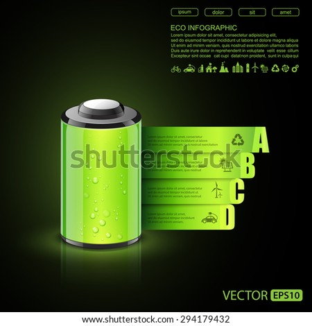 Eco infographic made of battery,vector - stock vector