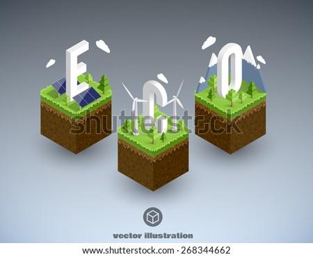 eco isometric concept - stock vector