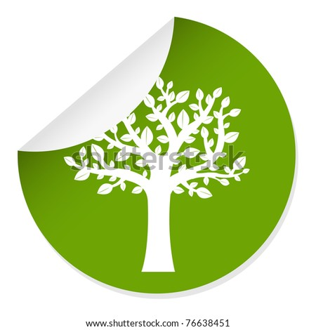 Eco Label With Tree, Isolated On White Background, Vector Illustration - stock vector