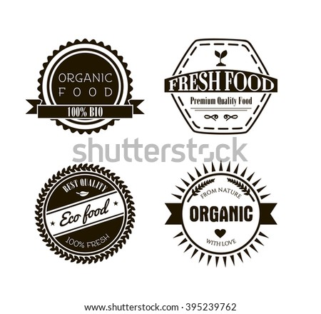 Eco labels in vintage retro style.  Vector design elements, logos, identity, labels, badges and objects.