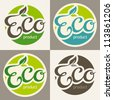 Eco labels, vector illustration - stock vector