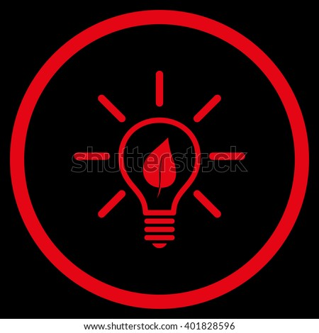 Eco Light Bulb vector icon. Image style is a flat icon symbol inside a circle, red color, black background. - stock vector